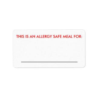 Grande etiqueta da identificação da comida etiqueta de endereço