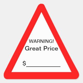 Grande etiqueta de advertência do preço adesivo triangular