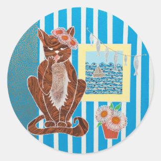 Grande etiqueta redonda clássica com gato do