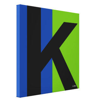 Grande inicial preta no azul e no verde impressão em tela