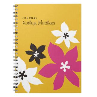 Grande jornal moderno da flor do amarelo do impres caderno espiral