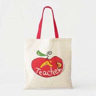 grande maçã do professor com saco da maçã bolsas