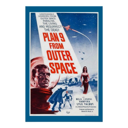 Grande plano 9 do cartaz cinematográfico do vintag poster
