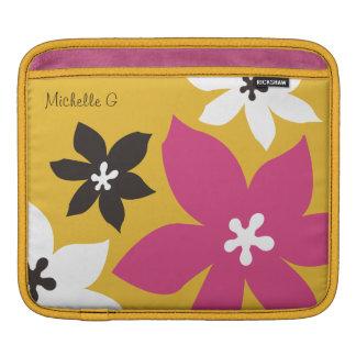 Grande rosa amarelo personalizado da flor impressã bolsas de iPad