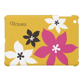 Grande rosa amarelo personalizado da flor impressã iPad mini capas
