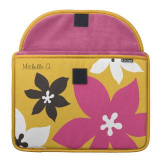 Grande rosa amarelo personalizado da flor impressã bolsa para MacBook