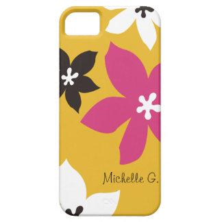 Grande rosa amarelo personalizado da flor impressã capas iPhone 5