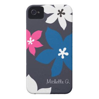 Grande rosa personalizado do marinho da flor impre iPhone 4 capas