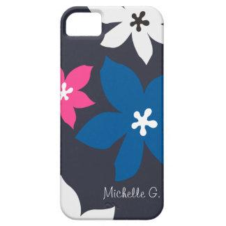 Grande rosa personalizado do marinho da flor impre iPhone 5 capa
