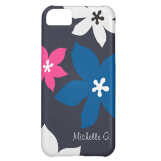 Grande rosa personalizado do marinho da flor impre capa iphone 5C