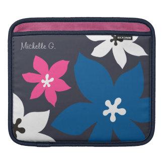 Grande rosa personalizado do marinho da flor impre bolsas de iPad