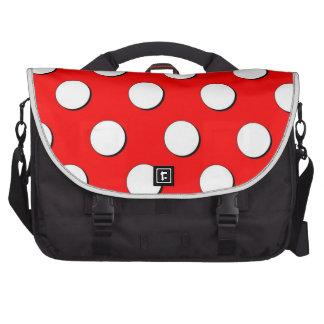 Grande saco branco vermelho do laptop das bolinhas maleta para laptop