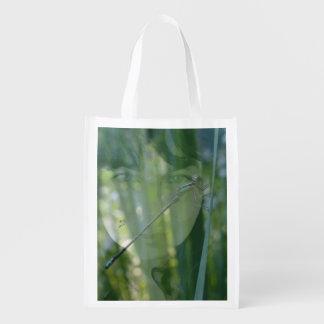 grande saco verde da senhora sacola ecológica para supermercado