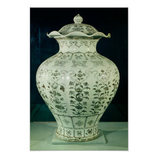 "Grande vaso de ""Kuoan"" decorado com flores azuis Pôsteres"