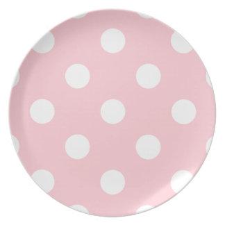 Grandes bolinhas - branco no rosa louças de jantar