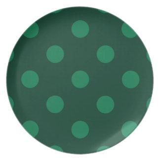 Grandes bolinhas - verde em verde escuro louça de jantar