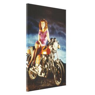 Grandes canvas da menina e da motocicleta
