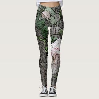 Grandes rosas na madeira leggings