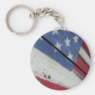 Grão da madeira da bandeira americana chaveiro