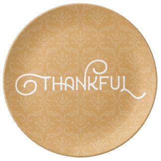 Grato • Placa bonito do damasco do outono Prato De Porcelana