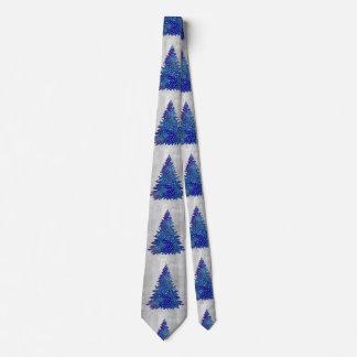 Gravata Árvore de Natal azul e roxa da aguarela