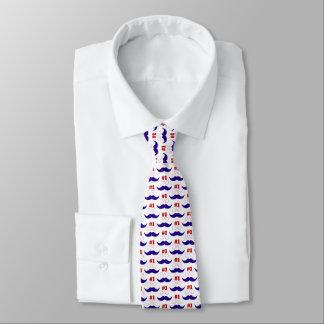 Gravata Bigode branco do pai #1 e azul vermelho - número