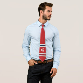 Gravata Cores azuis brancas vermelhas da equipe do número