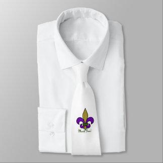 Gravata Flor de lis colorida do carnaval no branco