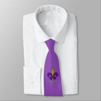 Gravata Flor de lis colorida do carnaval no roxo