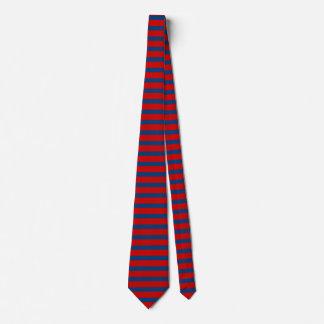 Gravata Laço Horizontal-Listrado vermelho e azul