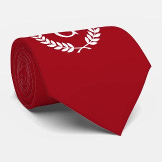Gravata Monograma branco vermelho da inicial da grinalda