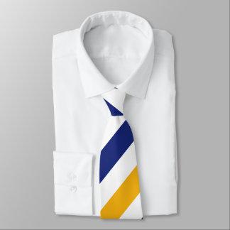 Gravata Ouro branco e laço regimental azul da listra