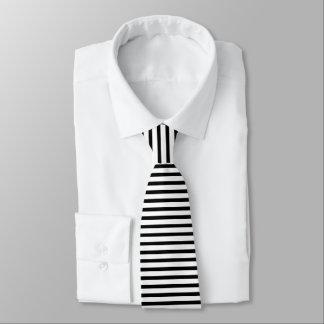 Gravata Smoking horizontal fino preto & branco da listra