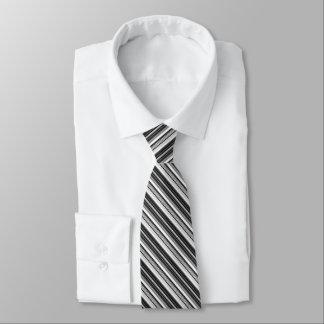 Gravata Teste padrão listrado cinzento branco preto