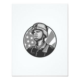 Grayscale americano da bandeira do soldado do convite personalizados