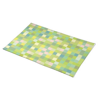 Green Squares Pattern Modern Designer Placemats Cloth Place Mat