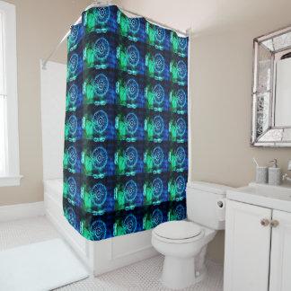 Grenn e teste padrão abstrato do azul cortina para chuveiro