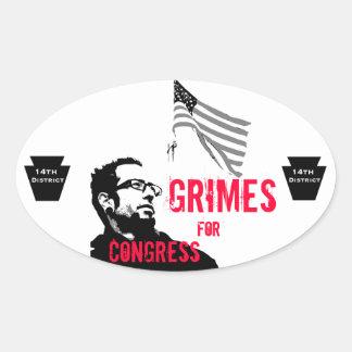 Grimes para o congresso adesivo oval