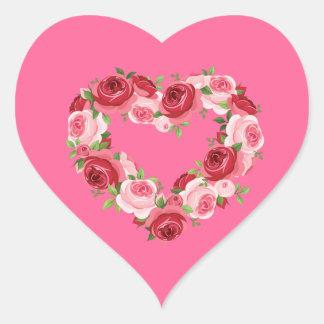 Grinalda da flor do coração, amor adesivo em forma de coração