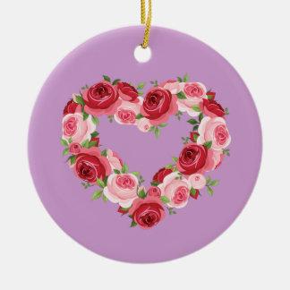 Grinalda da flor do coração, amor ornamento de cerâmica redondo