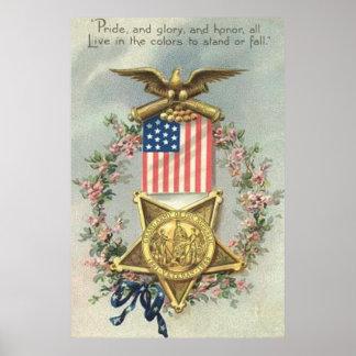 Grinalda de Eagle da medalha da guerra civil da Poster