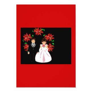 Grinalda do casal do casamento do Natal no ouro Convite 12.7 X 17.78cm