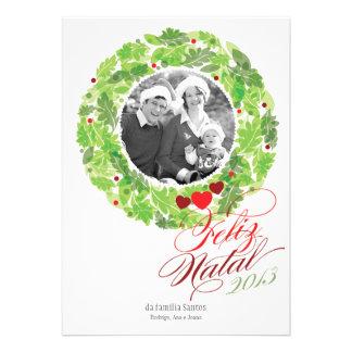 Grinalda do feriado cartão de foto de família personalized invite