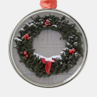 Grinalda do feriado ornamento redondo cor prata