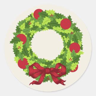 Grinalda do Natal com arco vermelho Adesivo Em Formato Redondo