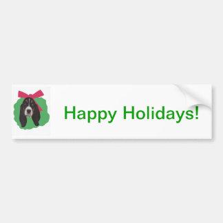 Grinalda do Natal de Basset Hound Adesivo Para Carro