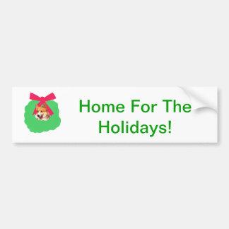 Grinalda do Natal do feriado do Corgi de Galês Adesivo Para Carro
