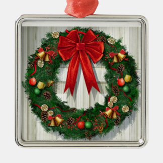 Grinalda do Natal Ornamento Quadrado Cor Prata