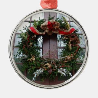 Grinalda do Natal Ornamento Redondo Cor Prata