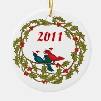 Grinalda do Natal Ornamento De Cerâmica Redondo